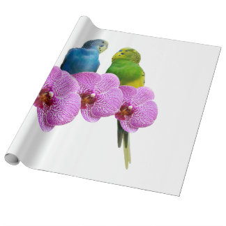 Budgie with Purple Orchid Wrapping Paper