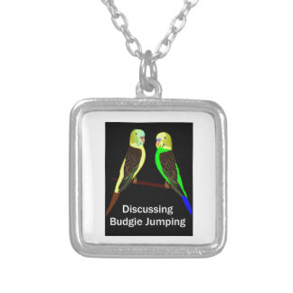 Budgies discussing Budgie Jumping Silver Plated Necklace