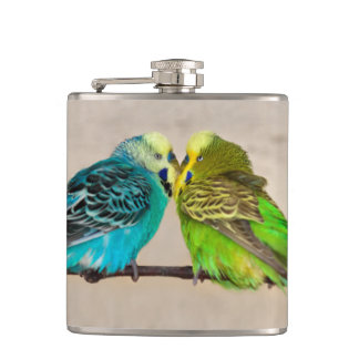 Budgies in Love Hip Flask
