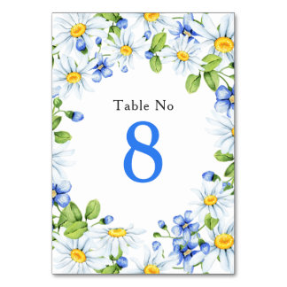 Bue White Country Daisy Floral Wedding Table Card