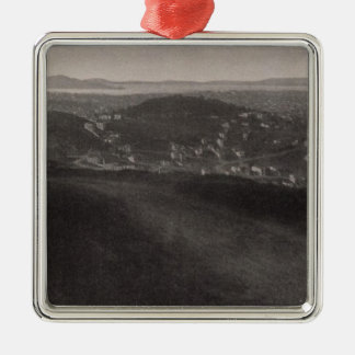 Buena Vista Park, City, from Twin Peaks Silver-Colored Square Decoration