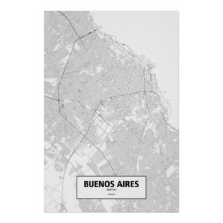 Buenos Aires, Argentina (black on white) Poster