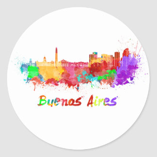 Buenos Aires skyline in watercolor Classic Round Sticker