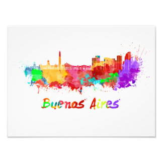 Buenos Aires skyline in watercolor Photo Print