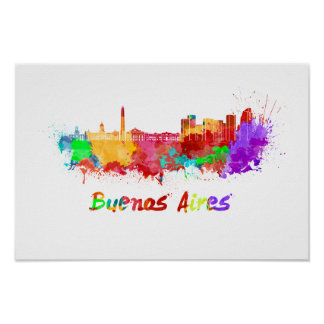 Buenos Aires skyline in watercolor Poster
