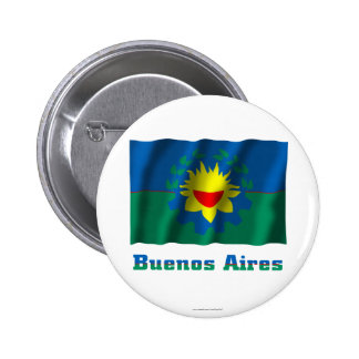 Buenos Aires waving flag with name 6 Cm Round Badge