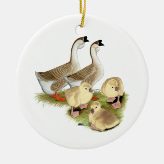 Buff African Goose Family Ceramic Ornament