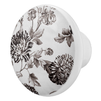 Buff Gray Taupe Vintage Floral Toile No.2 Ceramic Knob