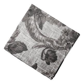Buff Grey Modern Vintage Floral Toile Fabric No.4 Bandana