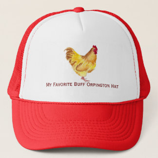 buff orpington rooster painting on items hat