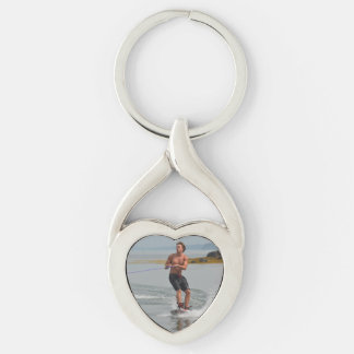 Buff Wakeboarder Silver-Colored Twisted Heart Key Ring