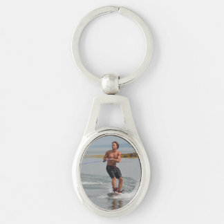 Buff Wakeboarder Silver-Colored Oval Key Ring
