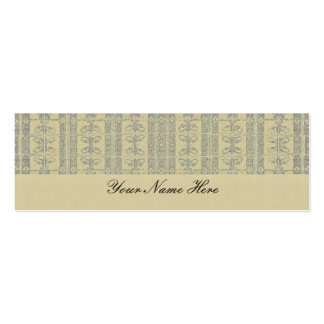 Buff Yellow Elegant Pattern Pack Of Skinny Business Cards