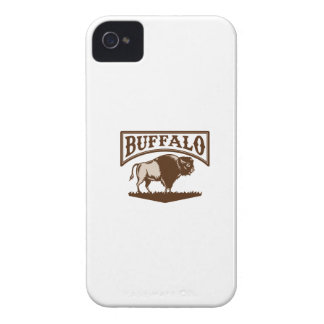 Buffalo American Bison Side Woodcut iPhone 4 Cover