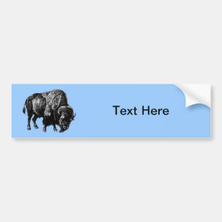Buffalo American Bison Vintage Wood Engraving Bumper Sticker