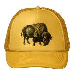 Buffalo American Bison Vintage Wood Engraving Cap