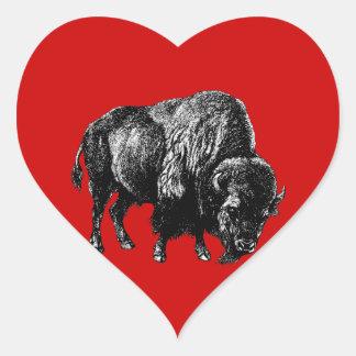 Buffalo American Bison Vintage Wood Engraving Heart Sticker