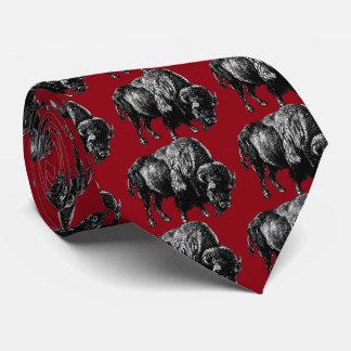 Buffalo American Bison Vintage Wood Engraving Tie