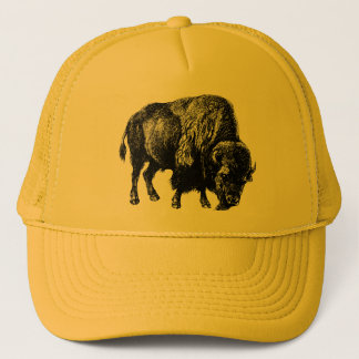 Buffalo American Bison Vintage Wood Engraving Trucker Hat