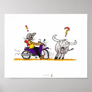 Buffalo and motorbike colorful cartoon drawing poster