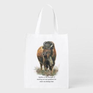 Buffalo Bison Animal Totem Spirit Guide Art Reusable Grocery Bag