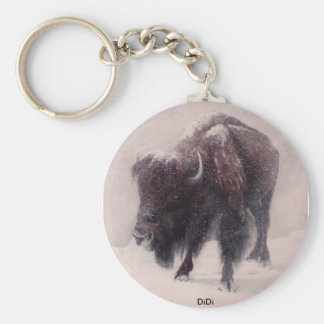 Buffalo Blizzard painting by  DiDi Key Ring