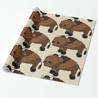 buffalo cartoon wrapping paper