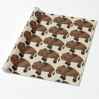 buffalo cartoon wrapping paper