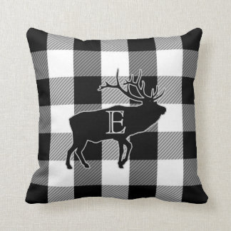 Buffalo Check Black White | Monogrammed Elk Cushion