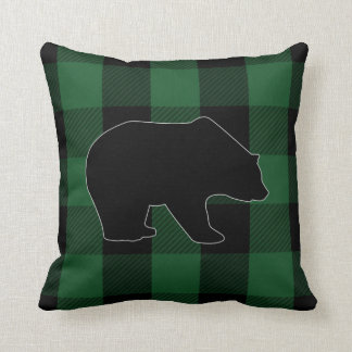 Buffalo Check Green Black | Bear Forest Animals Cushion