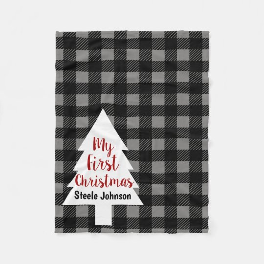 Buffalo Check Plaid & Tree My First Christmas Fleece Blanket