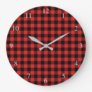 Buffalo Check Red Plaid Large Clock
