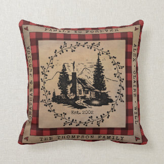 Buffalo Check Rustic Cabin Personalized Cushion