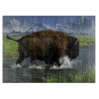 Buffalo Crossing a River Cutting Board