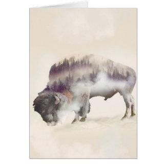 Buffalo-double exposure-american buffalo-landscape card