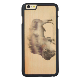 Buffalo-double exposure-american buffalo-landscape carved maple iPhone 6 plus case