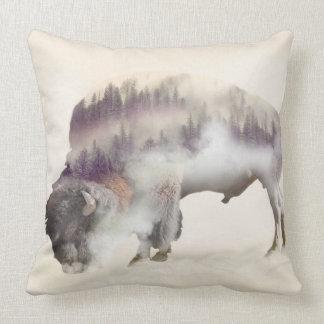 Buffalo-double exposure-american buffalo-landscape cushion