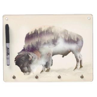Buffalo-double exposure-american buffalo-landscape dry erase board with key ring holder