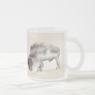 Buffalo-double exposure-american buffalo-landscape frosted glass coffee mug