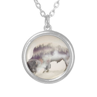 Buffalo-double exposure-american buffalo-landscape silver plated necklace