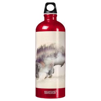 Buffalo-double exposure-american buffalo-landscape water bottle