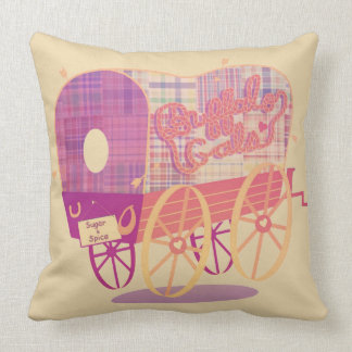 Buffalo Gals Wagon cotton throw pillow