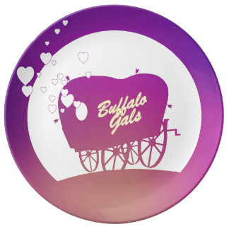 Buffalo Gals Wagon (silhouetted) porcelain plate