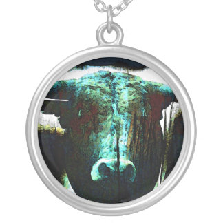 Buffalo head silver plated necklace