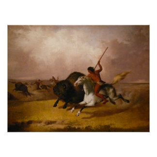 Buffalo Hunt on the Southwestern Plains - 1845 Poster