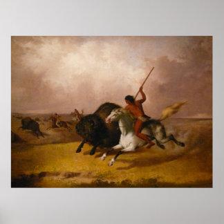 Buffalo Hunt on the Southwestern Plains - 1845 Poster