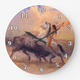 Buffalo Hunter Native American Clock