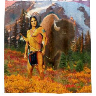 Buffalo Hunter Native American Shower Curtain