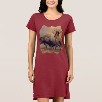 Buffalo Hunter Native American T-shirt Dress