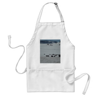Buffalo in snow covered valley with Mountains Standard Apron